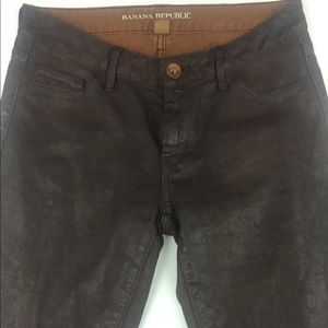 Banana republic brown skinny coated jeans